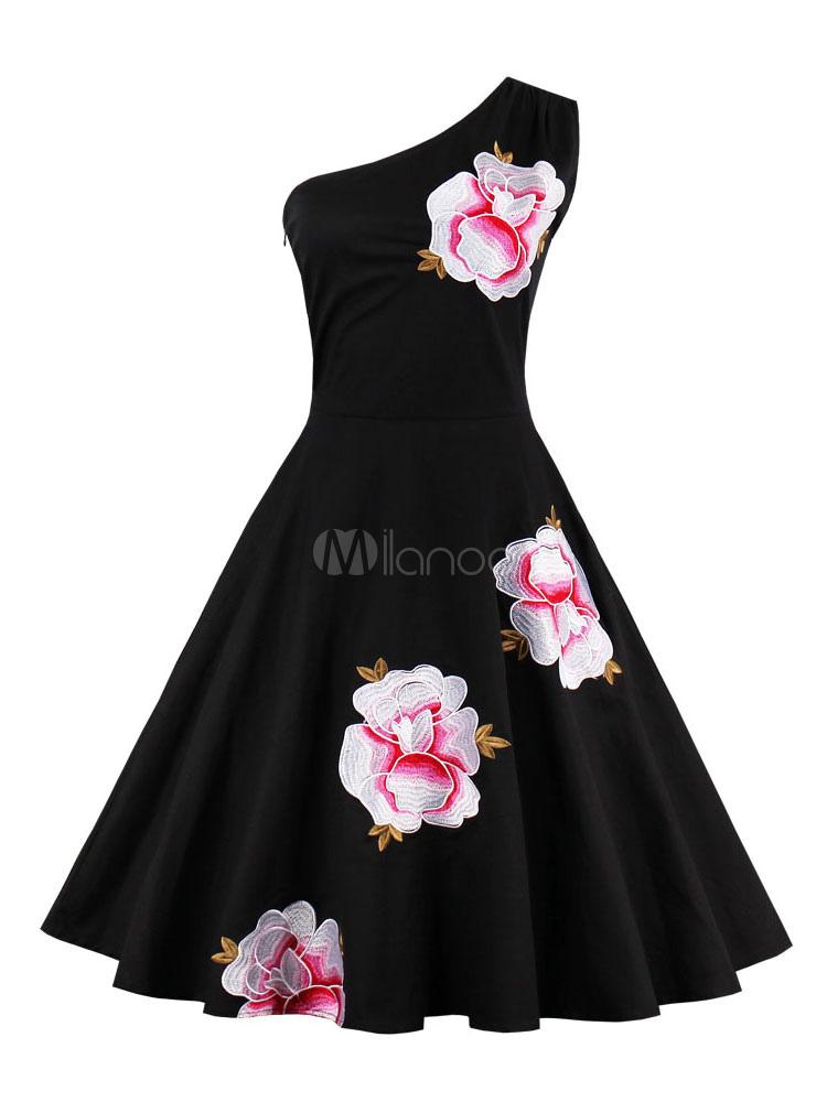 Black Vintage Dress Women's One Shoulder Sleeveless Floral Embroidered Pleated Skater Dress (Women\\'s Clothing Vintage Dresses) photo