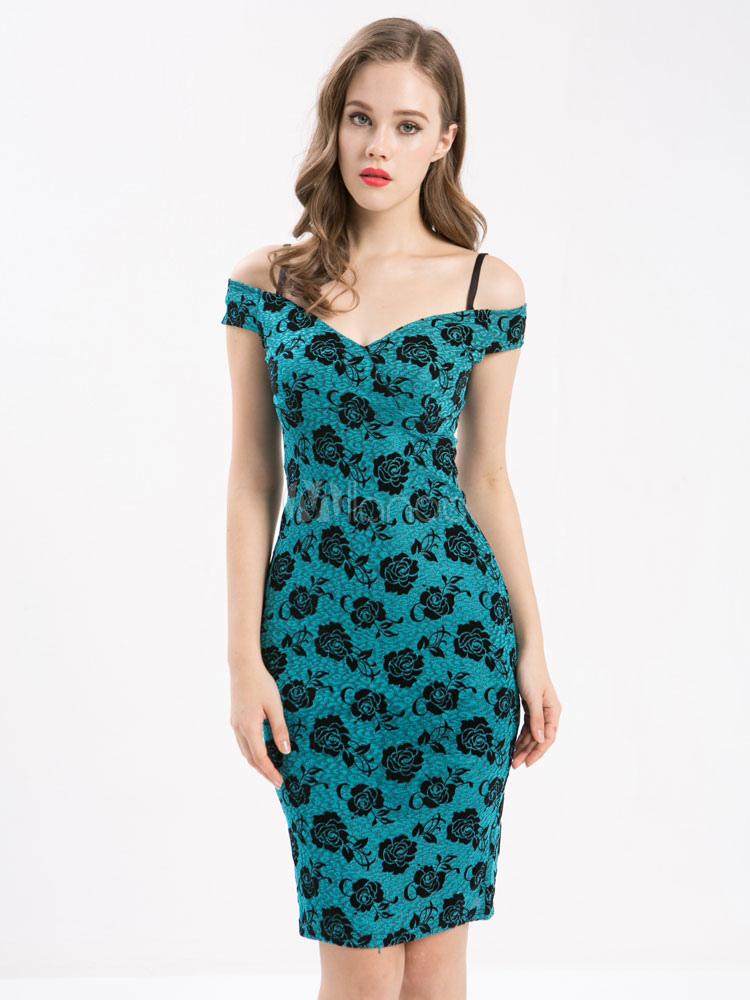 Green Vintage Dress Women's Strappy Short Sleeve Floral Printed Slim Fit Sheath Dress (Women\\'s Clothing Vintage Dresses) photo