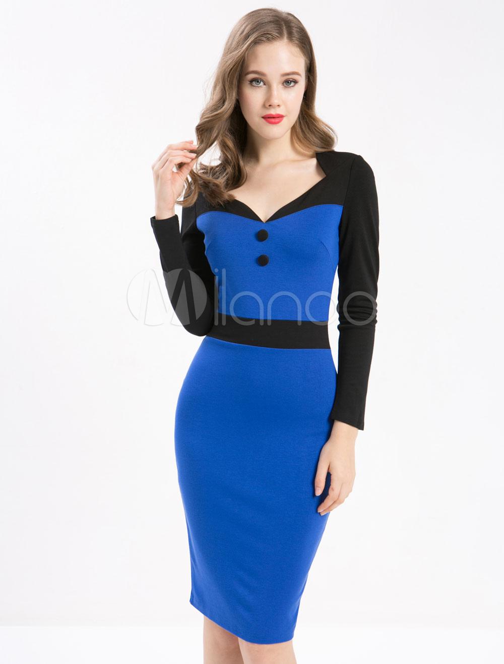 Vintage Blue Dress Bodycon Long Sleeve Women's V Neck Sheath Dress (Women\\'s Clothing Vintage Dresses) photo