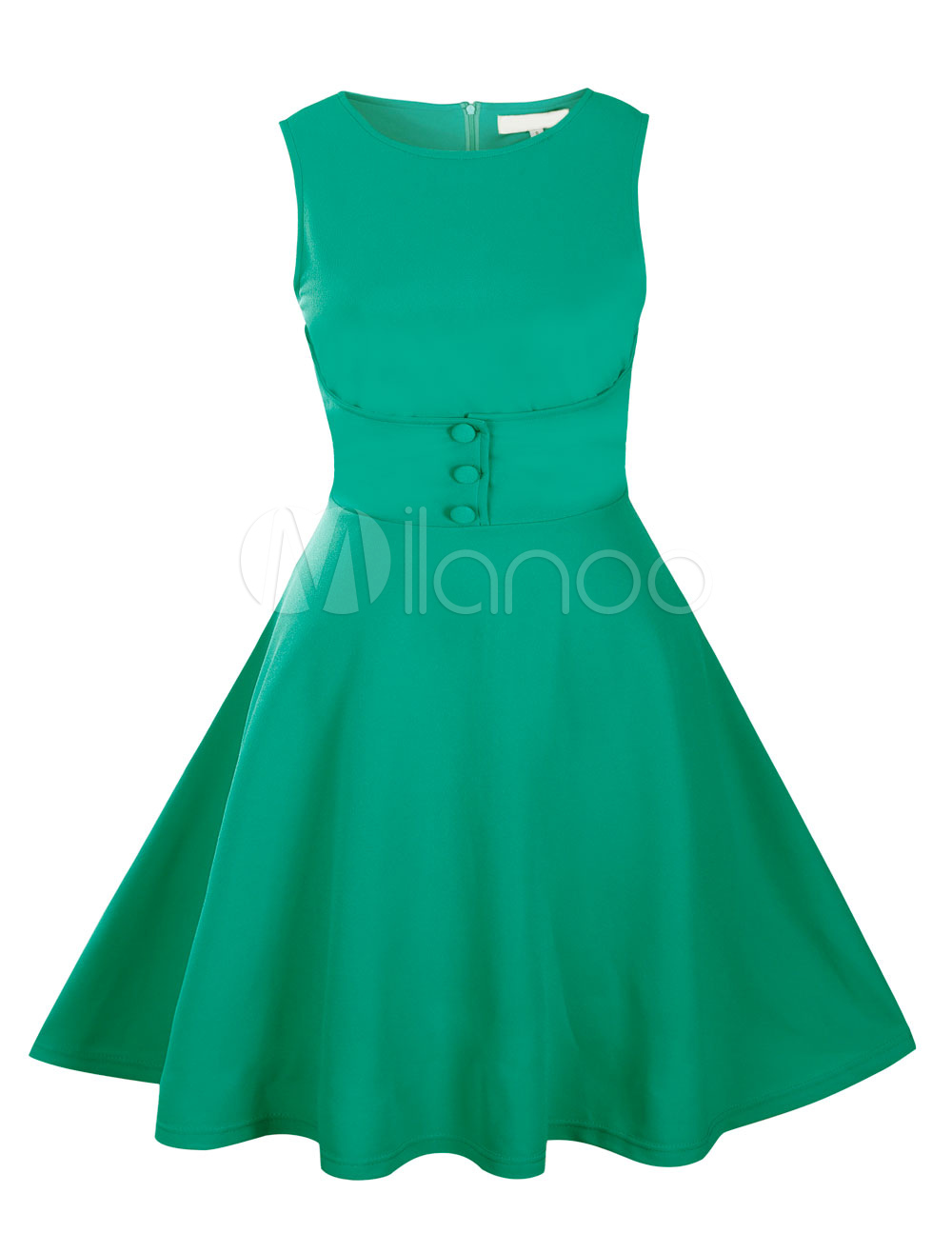 Green Vintage Dress Women's Sleeveless Buttons Deco Flare Retro Dress (Women\\'s Clothing Vintage Dresses) photo
