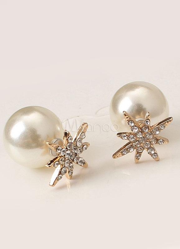 Pearl Silver Earring Vintage Snowflake Women's Stud Earrings thumbnail