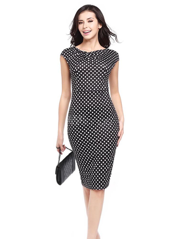 Black Bodycon Dress Vintage Round Neck Short Sleeve Polka Dot Slim Fit Sheath Dress (Women\\'s Clothing Bodycon Dresses) photo