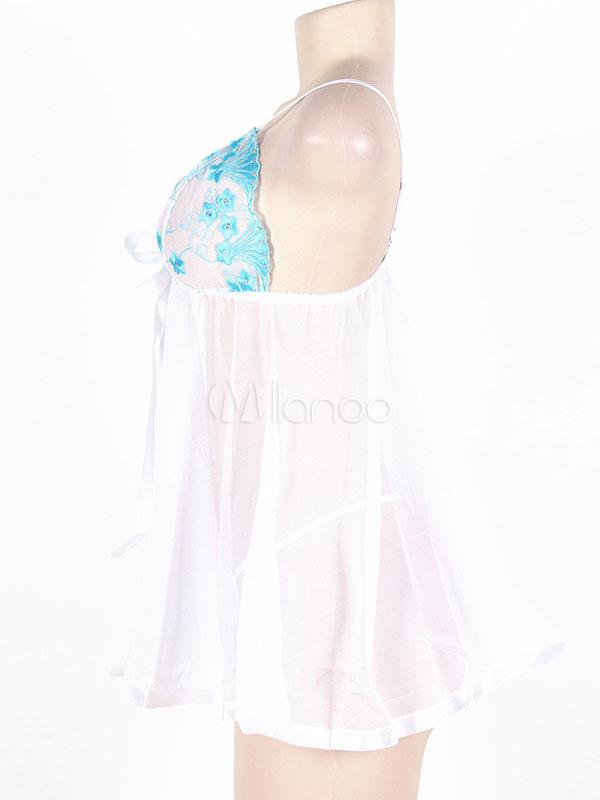 blanc de babydoll sexy femmes lingerie grande taille chasuble sans manches imprim en 2 pces. Black Bedroom Furniture Sets. Home Design Ideas