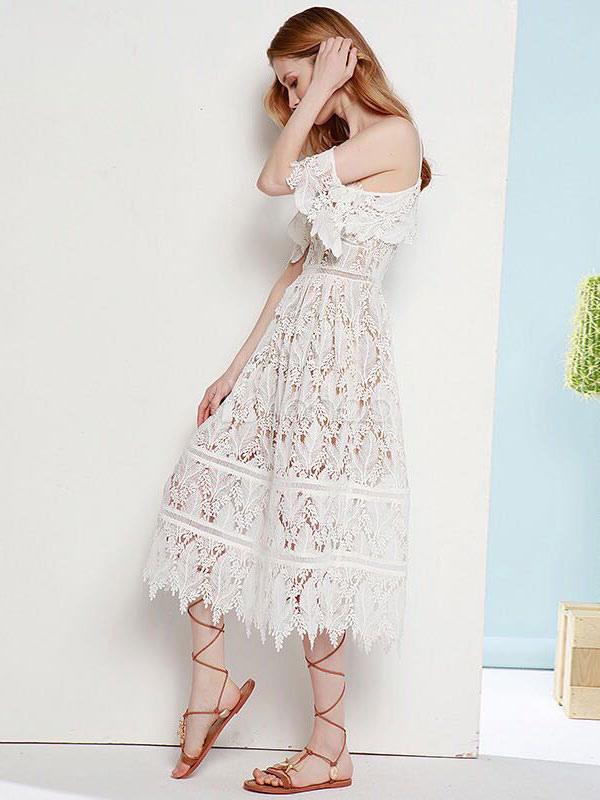 robe longue blanche dentelle chasuble sans manches coupe slim fit robe pour femmes. Black Bedroom Furniture Sets. Home Design Ideas