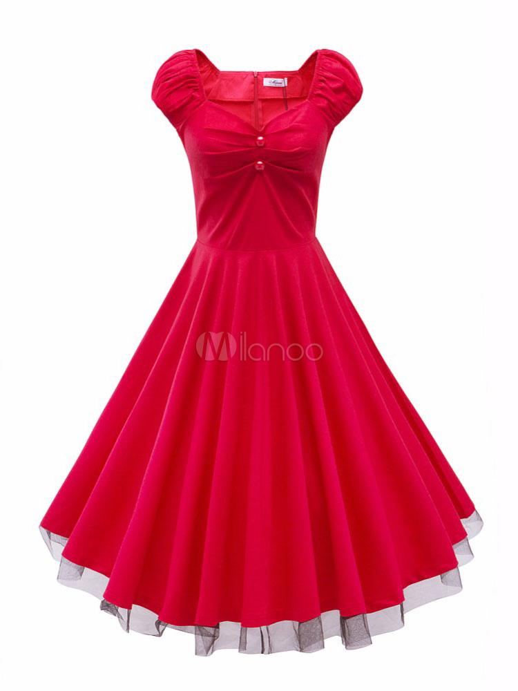 Red Vintage Dress Sweetheart Neckline Short Cap Sleeve Pleated Skater Dress (Women\\'s Clothing Vintage Dresses) photo