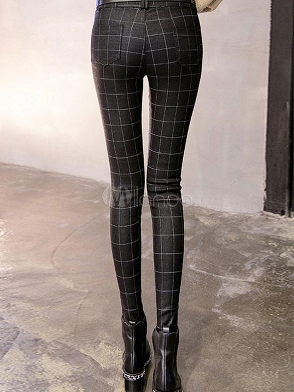 leggings noir plaid polaire doubl imprim jambi res maigre f minin. Black Bedroom Furniture Sets. Home Design Ideas