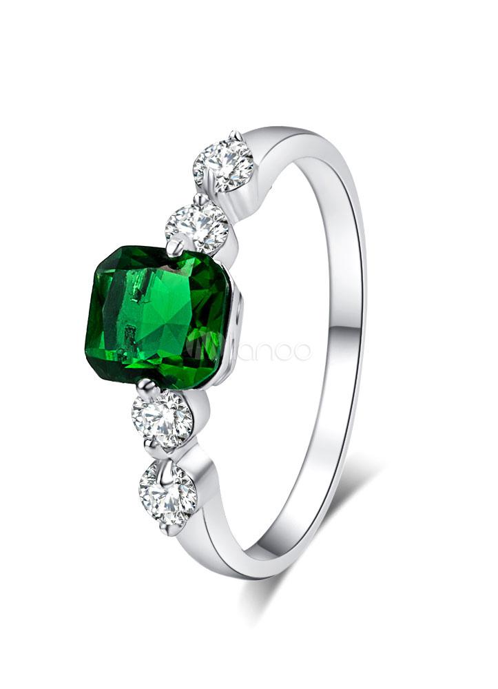 Women's Silver Ring Copper Round Brilliant Rhinestone Detail Luxury Ring thumbnail