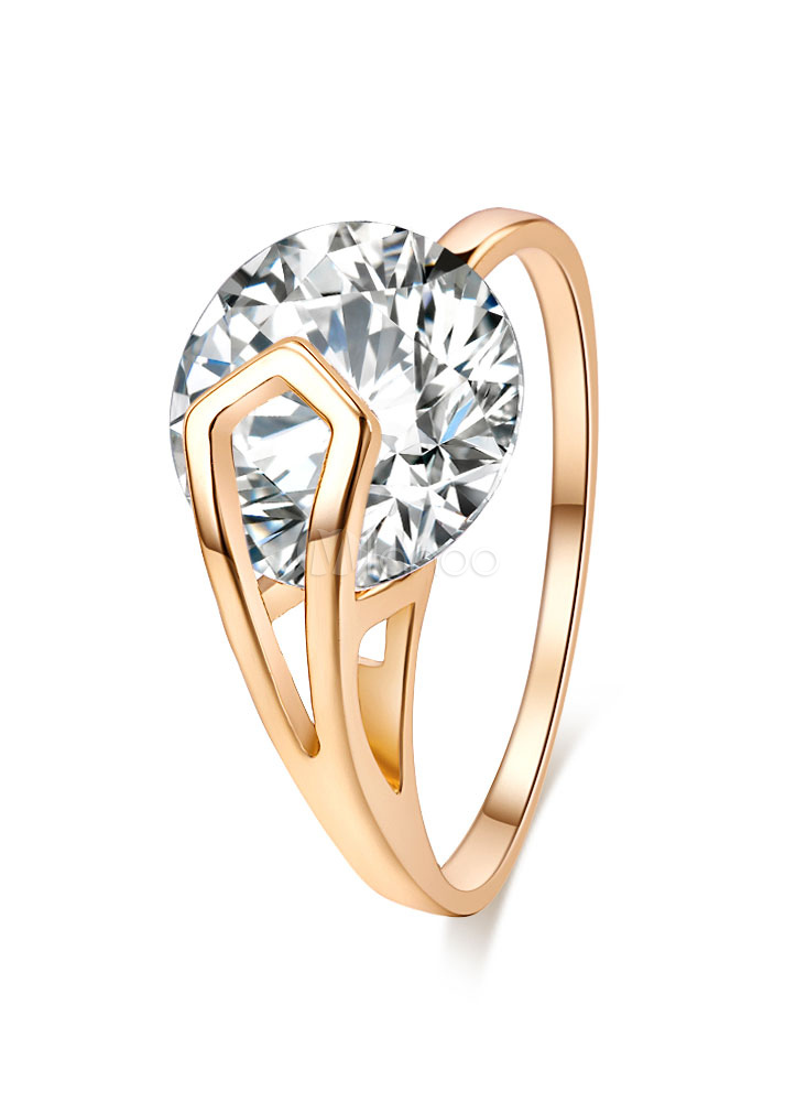 Gold Diamond Ring Women's Round Rings thumbnail