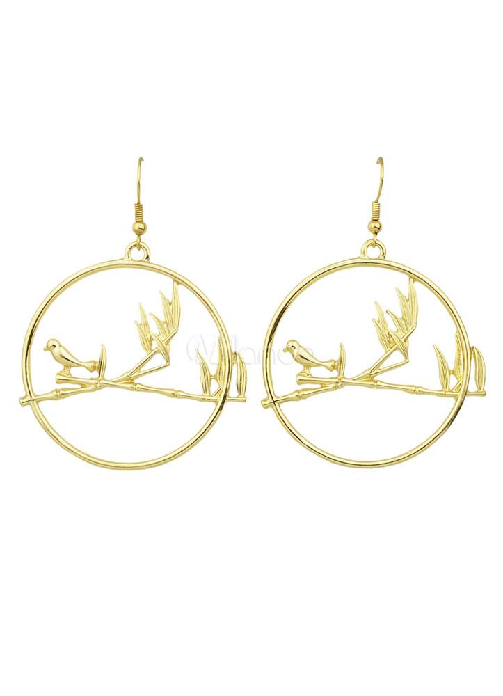 Gold Hoop Earrings Alloy Cut Out Pierced Dangle Earrings For Women thumbnail