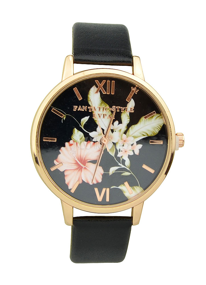 Women's Black Watches Round Shape Floral Printed Faux Leather Band Analog Digital Watches thumbnail