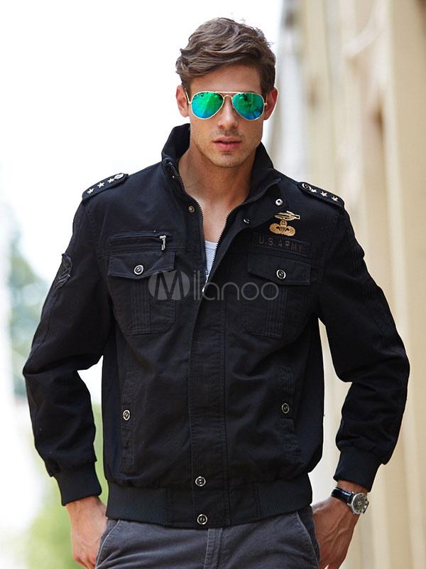 Men's Military Jacket Shoulder Strap Logo Army Style Short Cargo ...