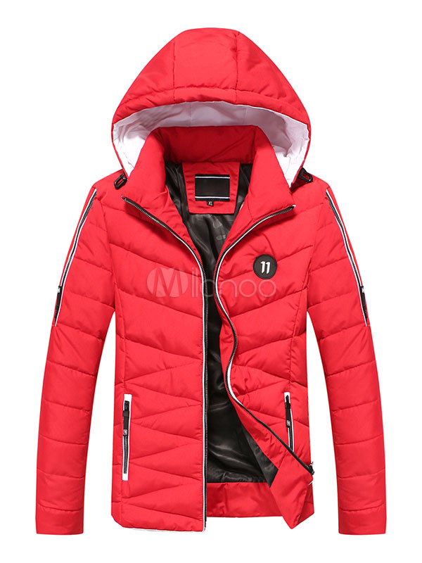 Quilted Puffer Jacket Red Hooded Long Sleeve Men's Padded Jacket thumbnail