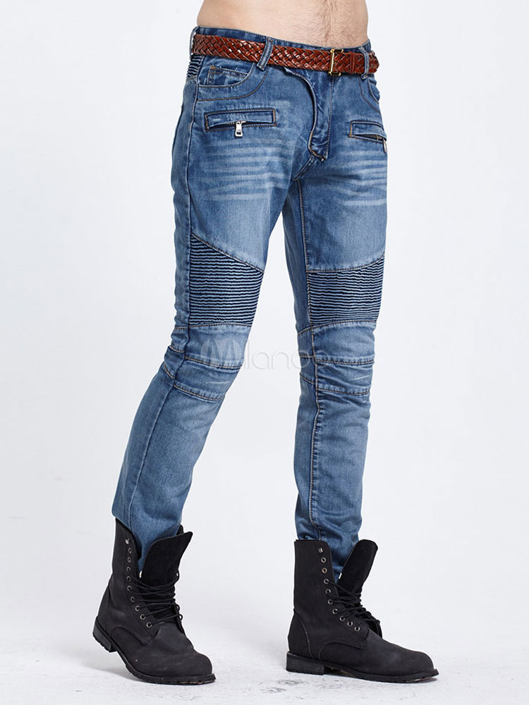 bleu jambe maigre biker jeans denim jeans homme. Black Bedroom Furniture Sets. Home Design Ideas