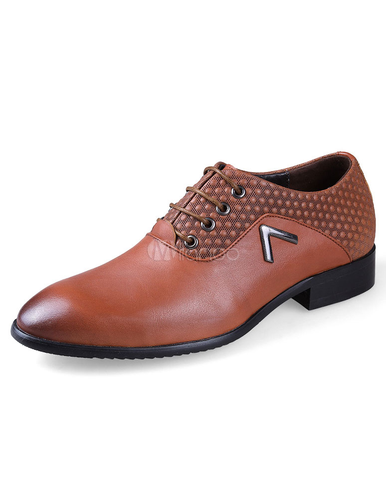 Plus Size Dress Shoes Men's Brown Lace Up Flat Formal Shoes thumbnail