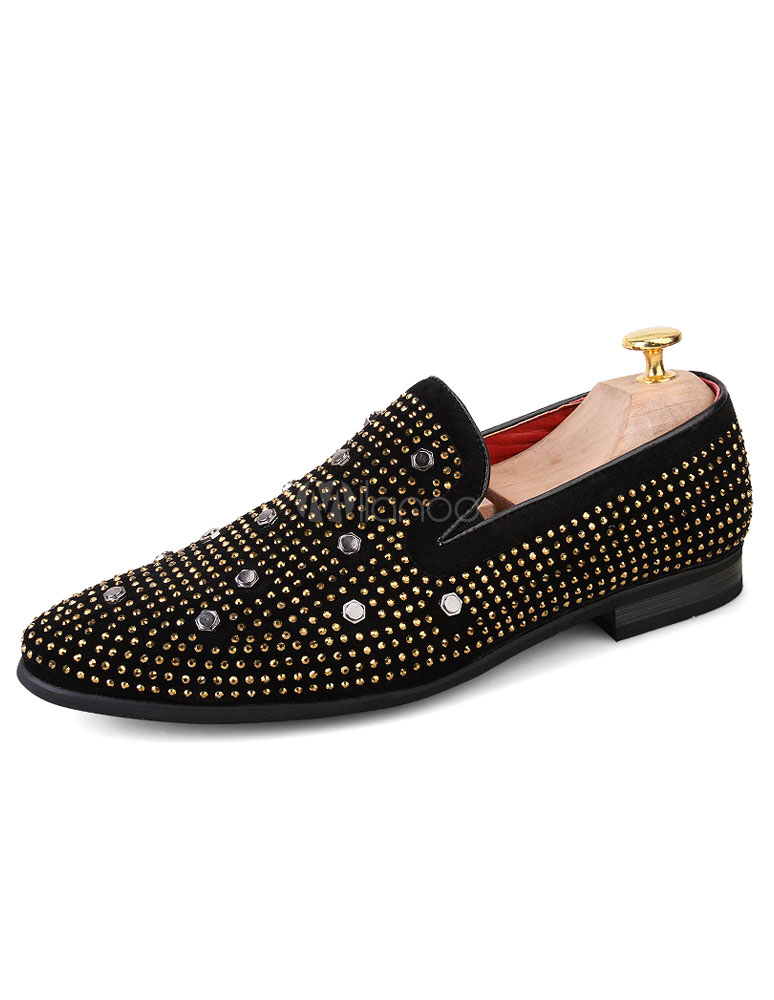 Black Dress Shoes Rivet Rhinestone Flat Slip On Formal Shoes For Men thumbnail