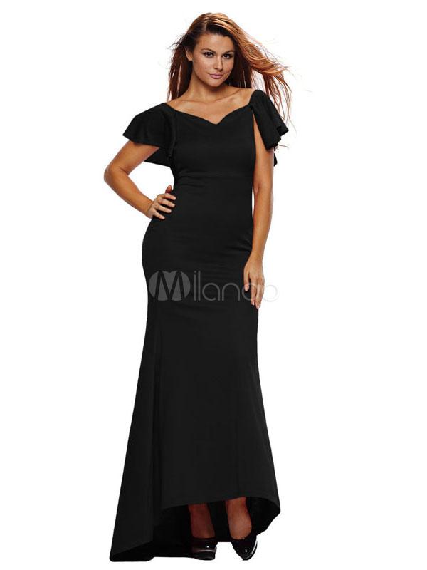 Black Maxi Dress Ruffle V Neck Short Sleeve Backless High Low Evening Dress (Women\\'s Clothing Maxi Dresses) photo