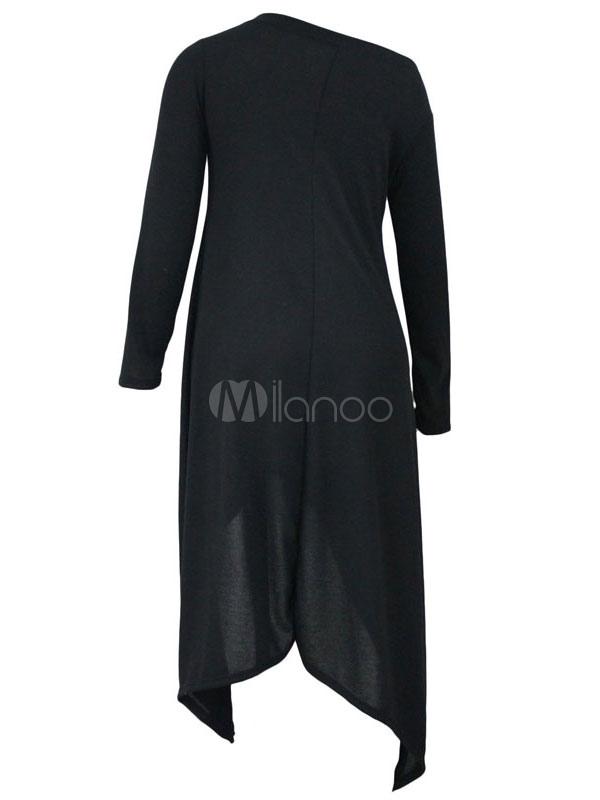 Asym trique haute basse casual top noir t shirt f minin for Film noir t shirts