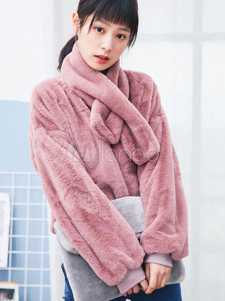 manteau fausse fourrure rose col haut manches longues manteau court femmes avec charpe. Black Bedroom Furniture Sets. Home Design Ideas