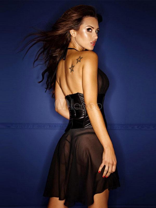 c583604012e Sexy Club Dress Chiffon Black Halter Sleeveless Semi-Sheer Skater Dress  (Women\\