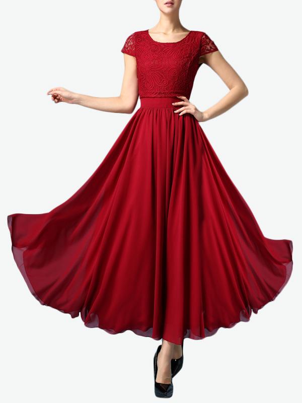 robe longue en chiffon unicolore pliss avec dentelle. Black Bedroom Furniture Sets. Home Design Ideas