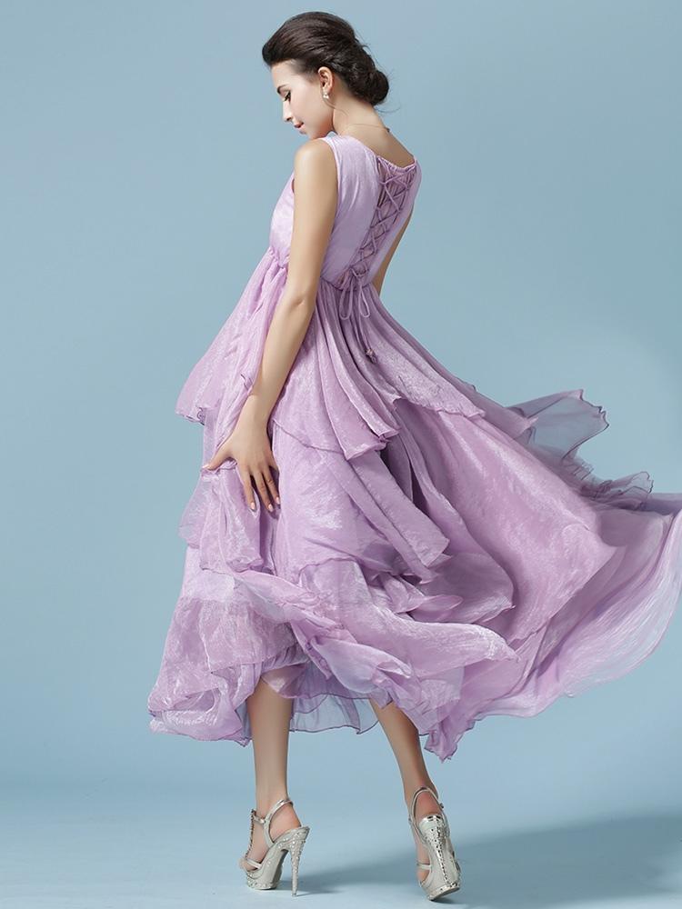 robe longue fausse soie unicolore pliss lacets. Black Bedroom Furniture Sets. Home Design Ideas