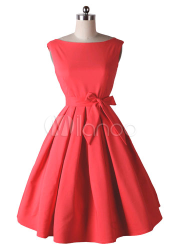 Red Bows Ruffles Brocade Vintage Dress for Women (Women\\'s Clothing Vintage Dresses) photo