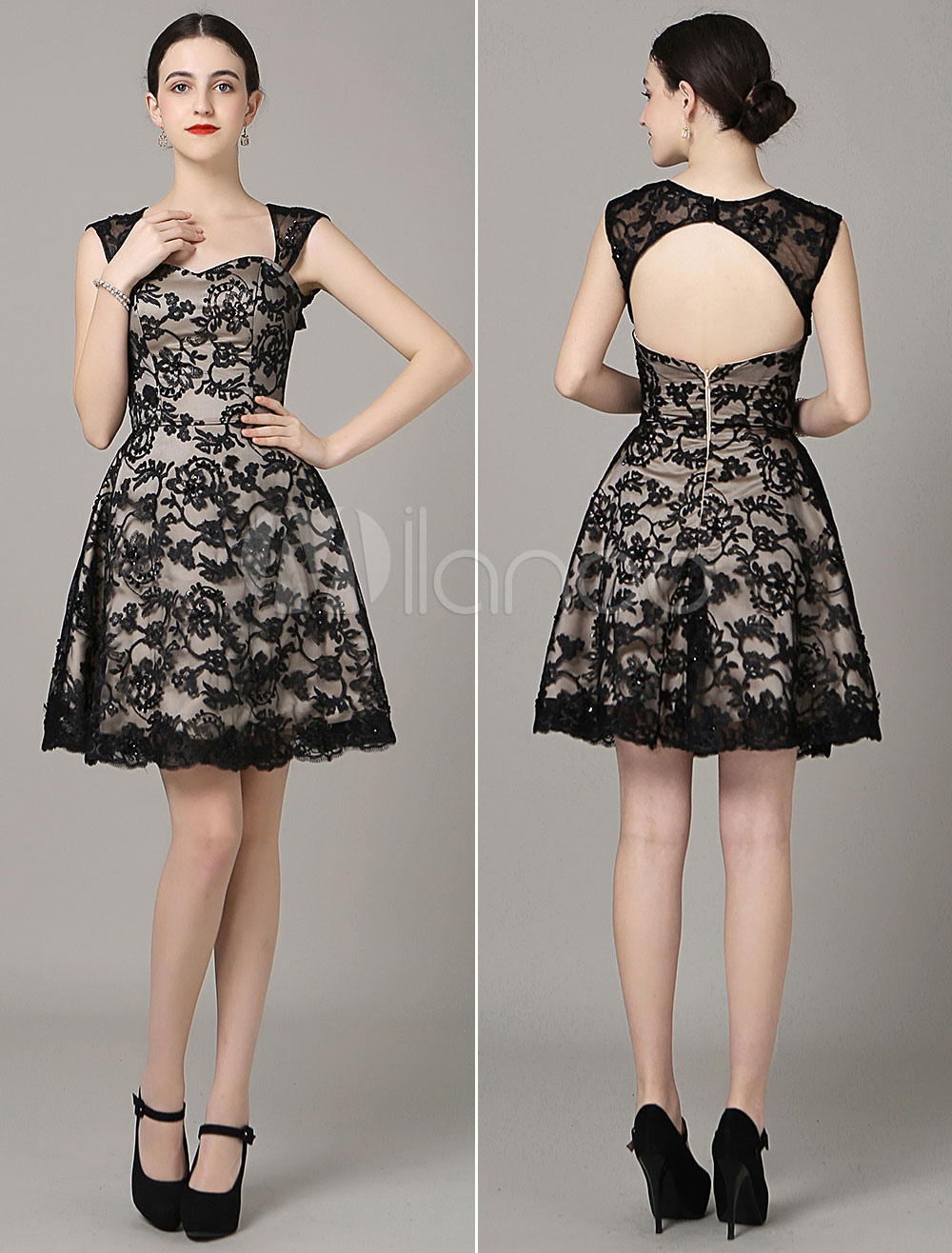 Backless Mini Prom Dress Sweetheart Black Lace Applique Cocktail Dress Milanoo (Wedding Prom Dresses) photo