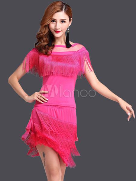 Rose Red Latin Dance Dress Trendy Fringe Milk Silk Dress (Costumes Latin Dance Costumes) photo