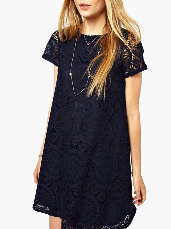 Short Sleeve Jacquard Lace Dress (Women\\'s Clothing Lace Dresses) photo