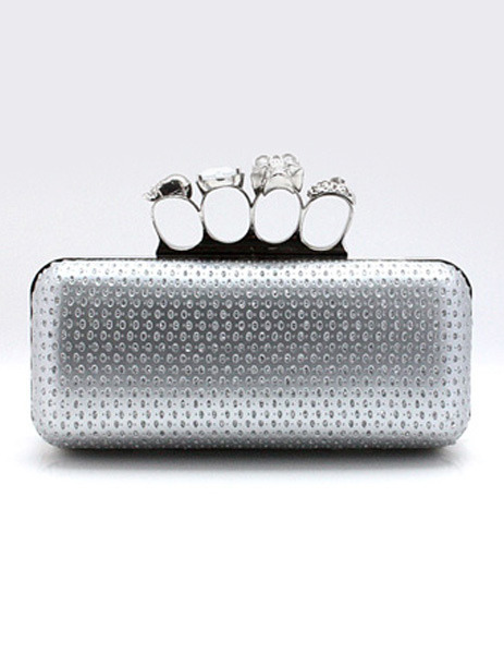 Gothic Silver Metal PU Leather Evening Clutch Bag For Women