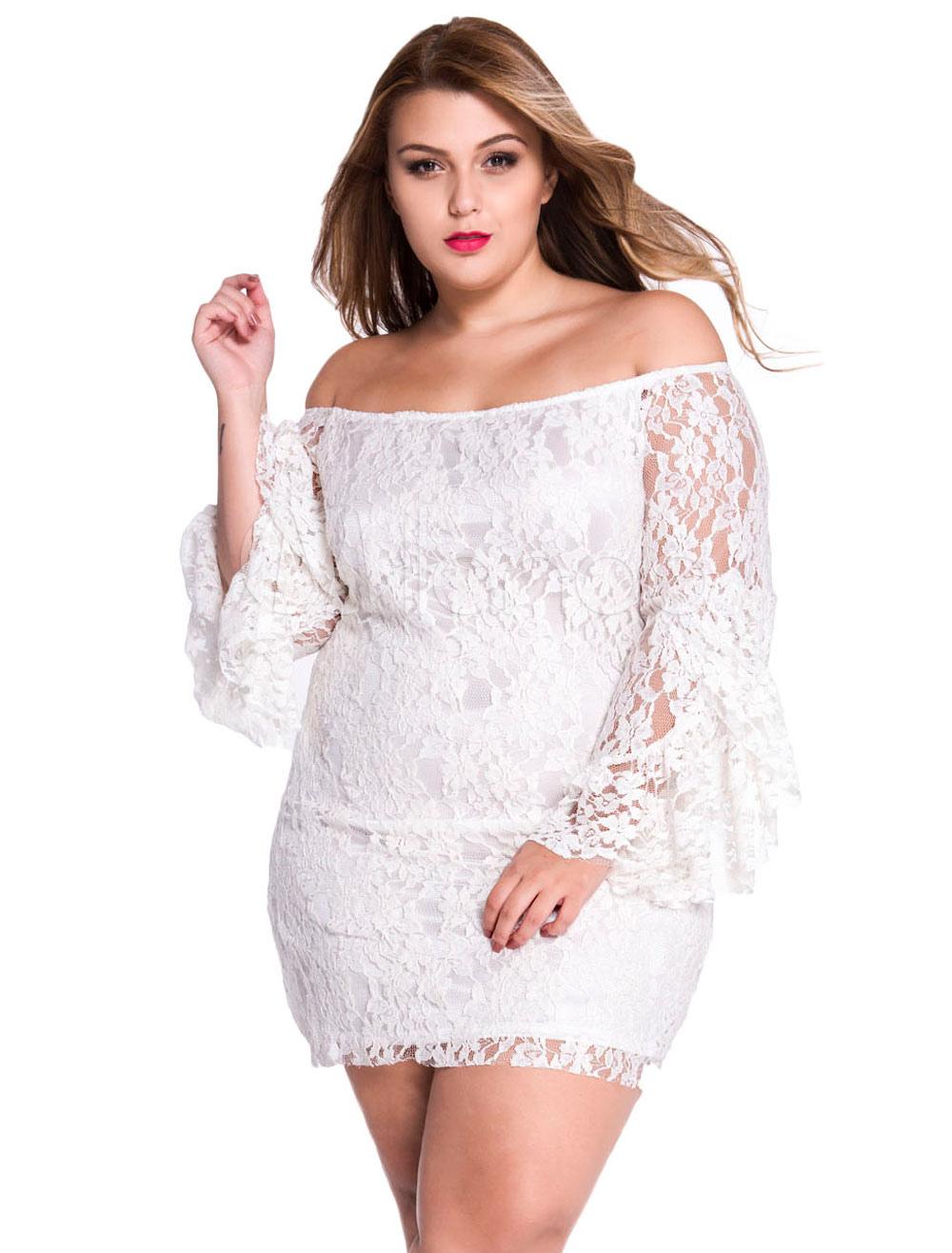 White Off-The-Shoulder Mini Dress Polyester Bodycon Dress