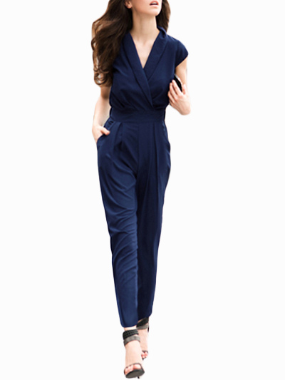 sexy navy polyester jumpsuit for women. Black Bedroom Furniture Sets. Home Design Ideas