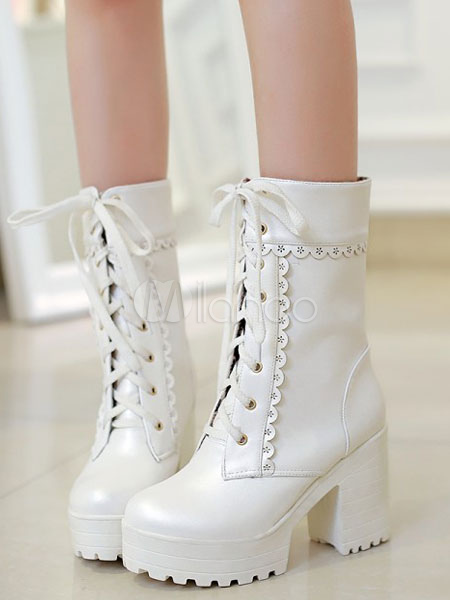 Matte White Lolita Short Boots Chunky Square Heels
