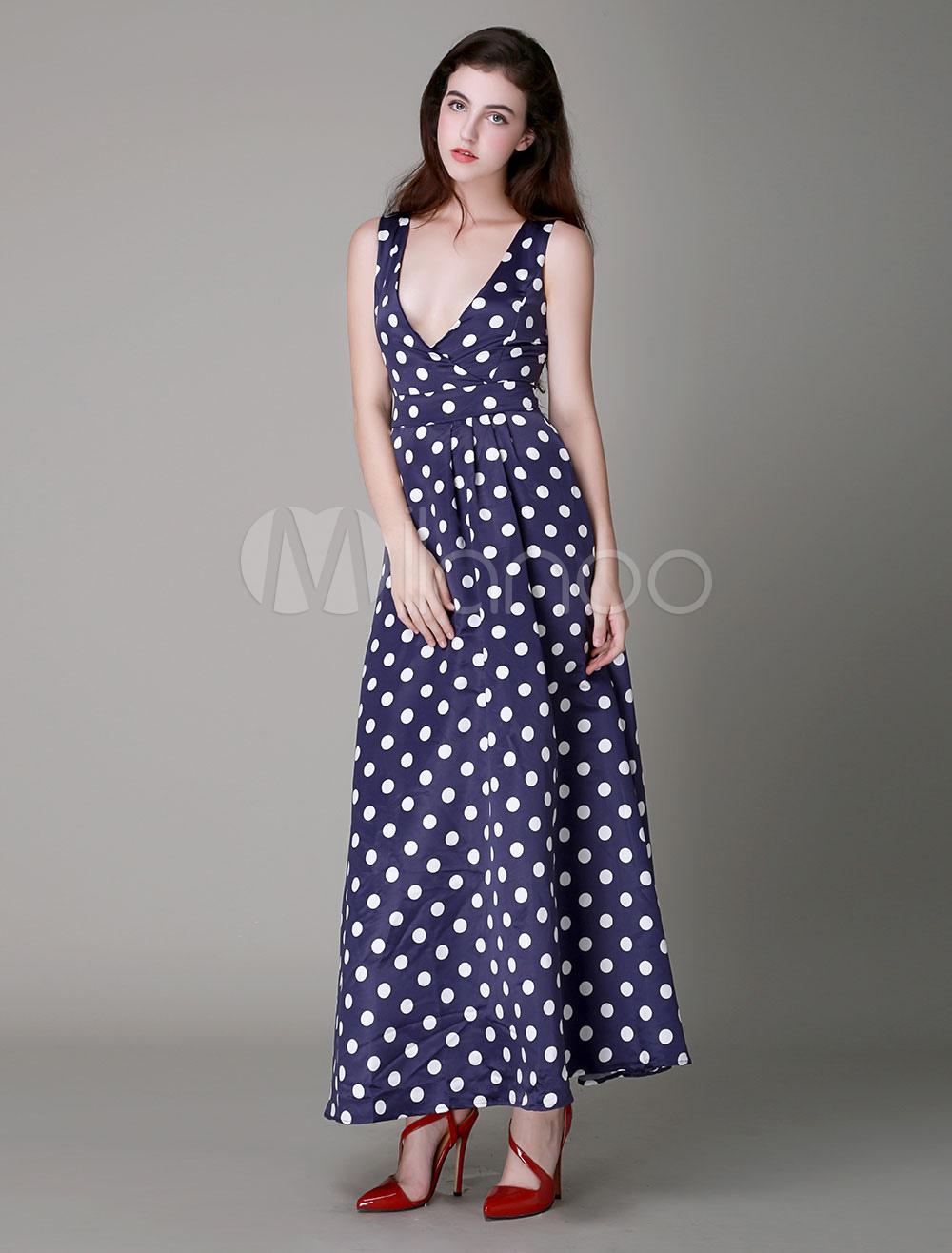 robe longue bleu marine en polyester pois col v. Black Bedroom Furniture Sets. Home Design Ideas