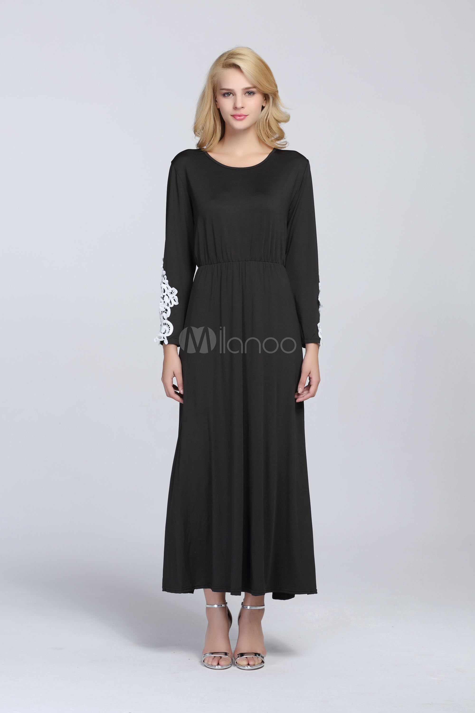 robe longue moulant col ras du cou. Black Bedroom Furniture Sets. Home Design Ideas