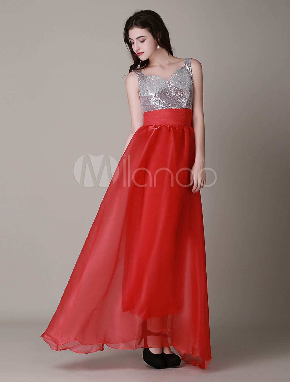 Red Maxi Dress Straps Deep-V Sequins Dress
