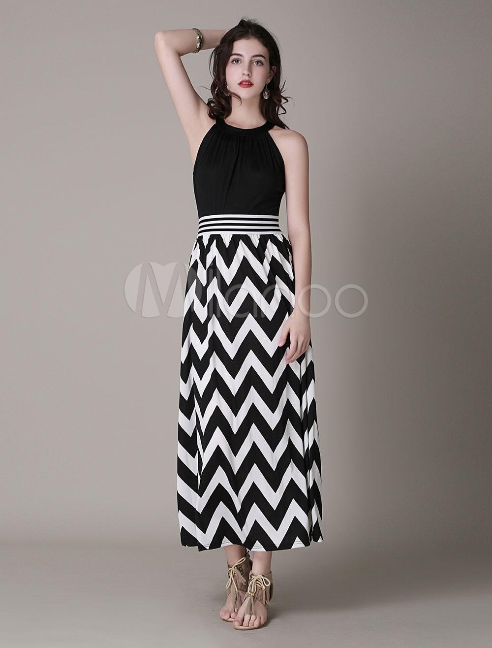 Zig Zag Printed Halter Long Dress (Women\\'s Clothing Maxi Dresses) photo