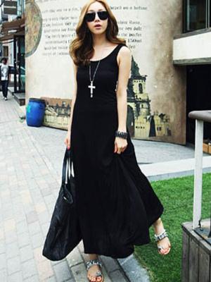 Fabulous Sleeveless Cotton Blend Womens Maxi Dress