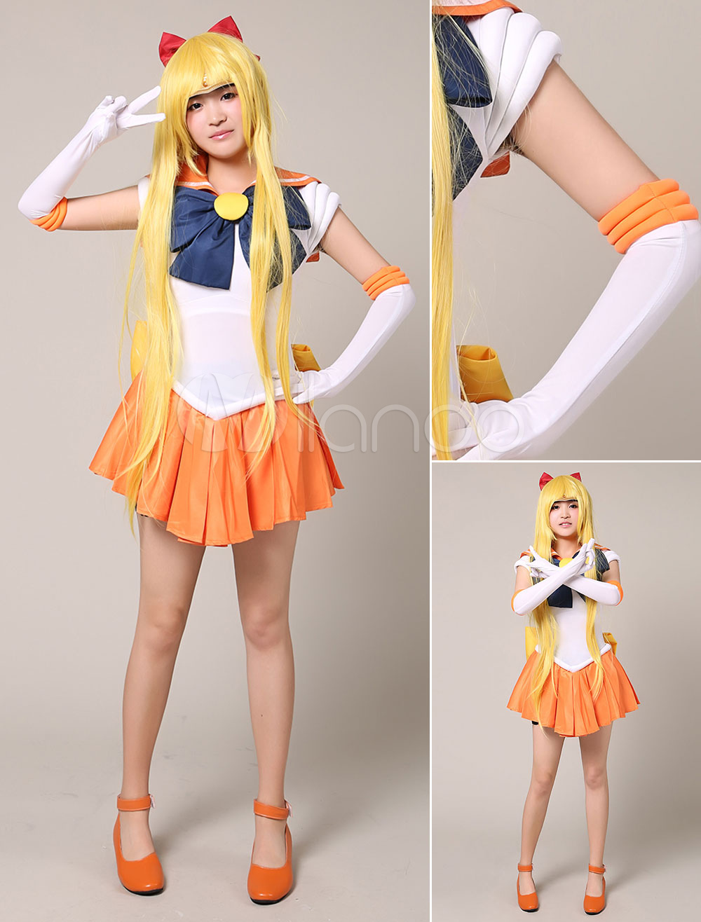 Sailor Moon Sailor Venus Halloween Cosplay Costume Aino