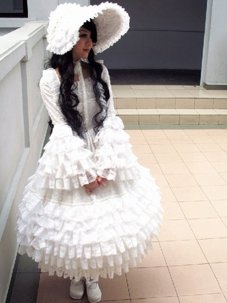 White Lace Lolita Dress for Women (Costumes) photo