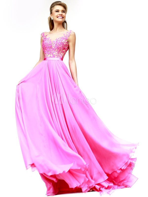 Chiffon Lace Evening Party Dress In Pink Low Back