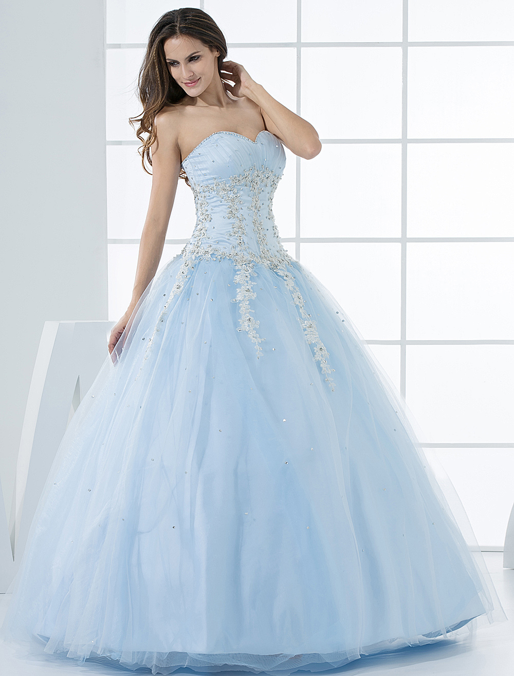 Princess Wedding Dress Pastel Blue Lace Applique Sweetheart ...