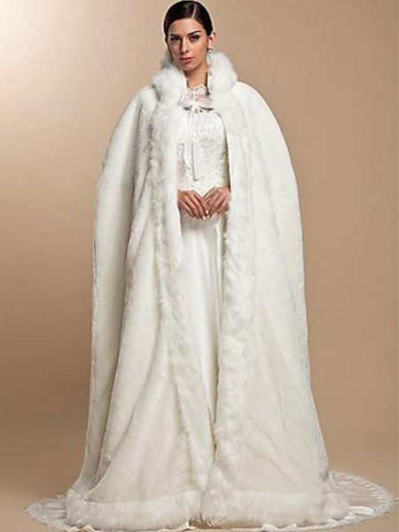 white hooded cloak faux fur acrylic cloak for women