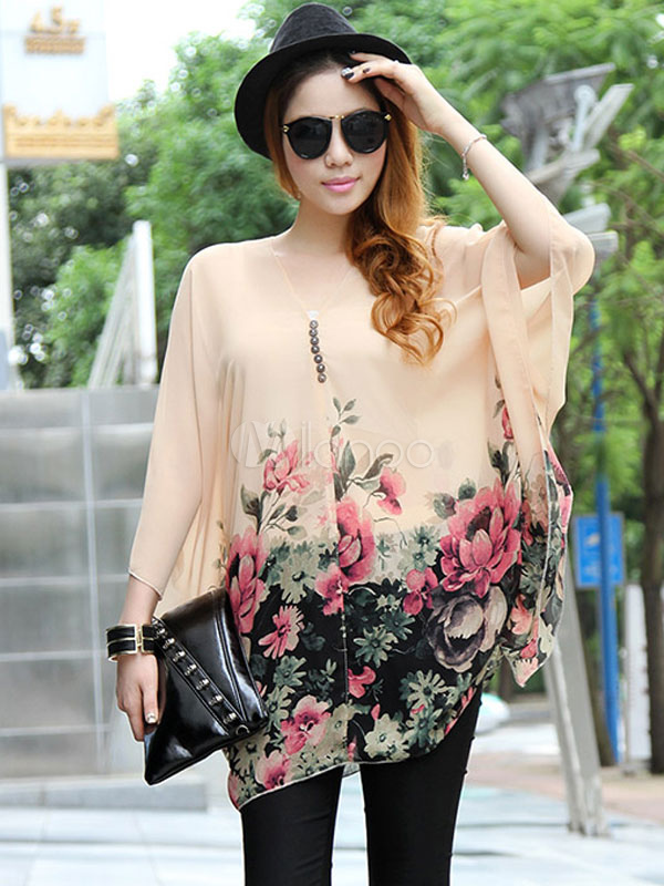 Blusa de chifón con estampado de flores - Milanoo.com