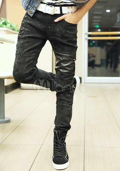 Black Buttons Cotton Skinny Jeans for Men