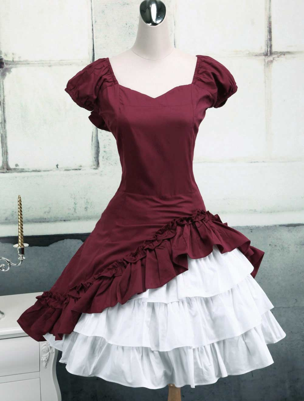 Wine White Lolita OP Dress Short Sleeves withe Ruffles