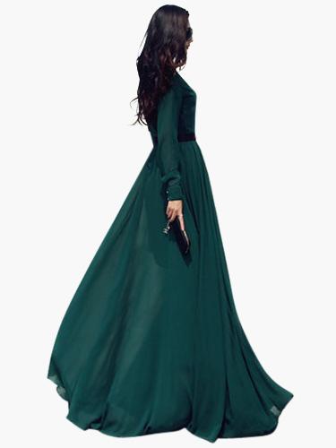 2018 Hot Vintage Chiffon Long Sleeve Prom Dress (Women\\'s Clothing Maxi Dresses) photo