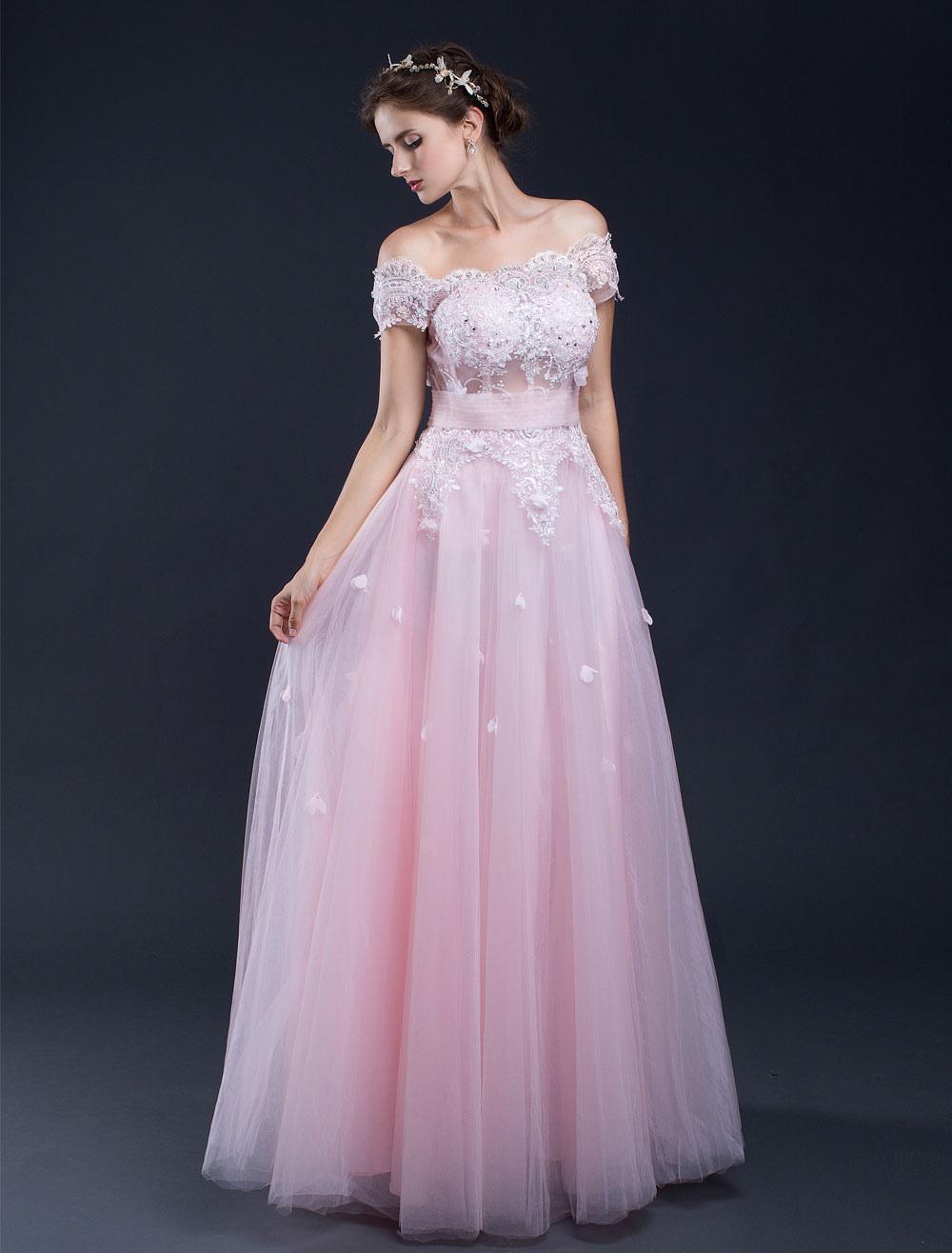 Beach Wedding Dress Pink Lace Applique Off-the-shoulder A-line Floor-length Bridal Gown (Pink Wedding Dress) photo
