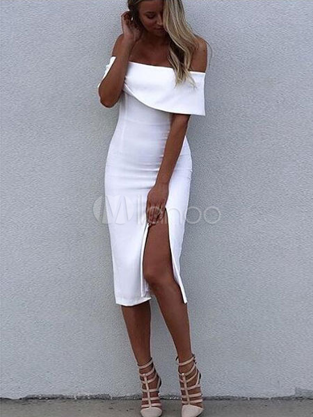 White Bodycon Dress Split Off-The-Shoulder Rayon Party Dress (Women\\'s Clothing Party Dresses) photo