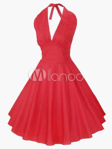 1950s Vintage Dress Red Women Halter Retro Swing Dress (Women\\'s Clothing Vintage Dresses) photo